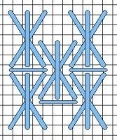 Cross Plus Two needlepoint stitch. A picture, graph, how to work this stitch, how difficult and other names are included on this page.