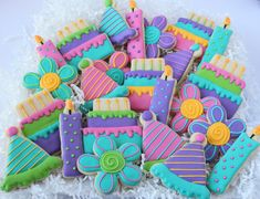 Birthday  Party Decorated Cookies, Cake Cookies, Party Cookies, Flower Cookies