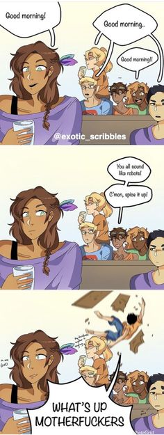 Heroes of olympus comic mornings piper mclean jason grace annabeth chase leo valdez hazel levesque frank zhang and percy jackson the heroes of olympus by burdge on deviantart Percy Jackson Comics, Percy Jackson Cosplay, Percy Jackson Fandom, Percy Jackson Film, Percy Jackson Characters, Percy Jackson Quotes, Jackson Movie, Percy Jackson Fan Art Funny, Viria Percy Jackson