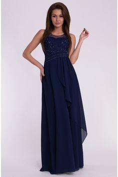 f5e95f492c7b Dámské dlouhé plesové šaty EVA LOLA tmavě modré. Společenské Šaty ...