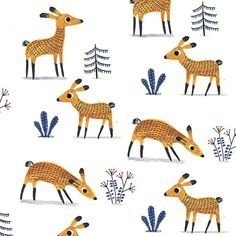 I made a pattern with my #deer illo : ) #pattern #illustration