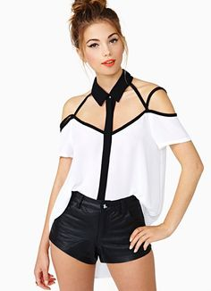 Black Striped Hollow Design White Shirt (US$17.99)