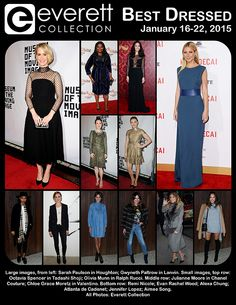 Best Dressed of the Week: January 16-22, 2015: Sarah Paulson in Houghton; Gwyneth Paltrow in Lanvin. Small images, top row: Octavia Spencer in Tadashi Shoji; Olivia Munn in Ralph Rucci. Middle row: Julianne Moore in Chanel Couture; Chloe Grace Moretz in Valentino. Bottom row: Remi Nicole; Evan Rachel Wood; Alexa Chung; Atlanta de Cadenet; Jennifer Lopez; Aimee Song.   All Photos: Everett Collection