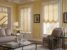 Lafayette Interior Fashions offers a wide range of materials and styles with our line of Interior Masterpieces® Fabric Shades Traditional Window Treatments, Traditional Windows, Window Treatments Living Room, Living Room Windows, House Window Design, Entryway Wall Decor, Luxury Curtains, Curved Walls, Dream Home Design