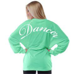 #dancer This oversized adult Boyfriend Jersey T-shirt features a shoulder to shoulder DANCER print in pink ink . ONLY $44.99!