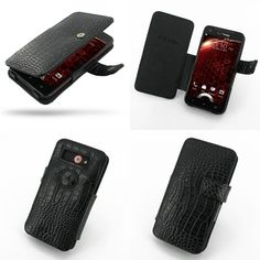 PDair Leather Case for HTC Droid DNA ADR6435 (Verizon) - Book Type (Black/Crocodile Pattern)