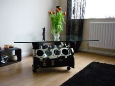 Rover V8 engine coffee table wine rack