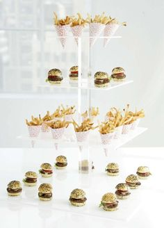 Peter Callahan's Mini-Masterpieces | Mini-Burgers and Fries | Read more - http://www.stylemepretty.com/living/2013/10/23/peter-callahans-mini-masterpieces/