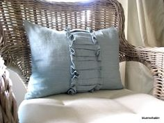 DIY- ruffled pillow...she made it out of napkins