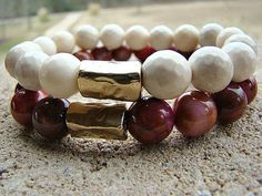 Cream Stone Bracelet, Gold Bead Bracelet, Gemstone Bracelet, Stretch Bracelet…
