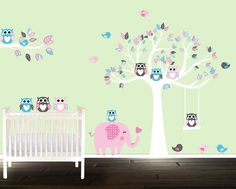 Owl stickers, nursery tree decal, elephant wall decals, nursery tree, owl decals,  playroom stickers by BeautifulWalls on Etsy https://www.etsy.com/listing/219514670/owl-stickers-nursery-tree-decal-elephant