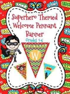 I love this WELCOME banner! It's the perfect fun addition to my classroom superhero theme classroom for this next year! Superhero School Theme, Superhero Classroom, Superhero Room, School Themes, Classroom Themes, School Ideas, Superhero Ideas, Superhero Bulletin Boards, Back To School Bulletin Boards