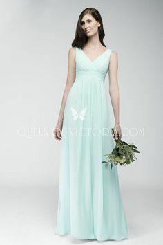 Aqua crinkle chiffon, shirred floor length designer bridesmaid dress with sleeveless front and back v-neckline.