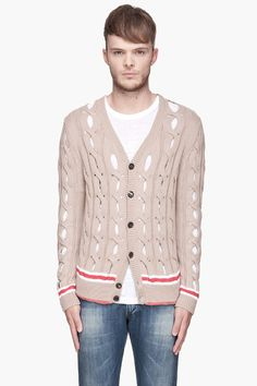 CARVEN Beige And Red Open Weave Cableknit Cardigan for men | SSENSE