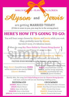 Fun Wedding Programs - Customizable - this is hilarious and I can see us totally doing it if our parents let us get away with it :) It'd definitely be memorable!