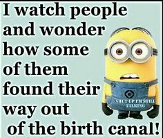 I watch people and wonder how some of them found their way out of the birth canal funny quotes quote funny quotes humor minions minion quotes funny minion quotes stupid people quotes Funny Minion Memes, Minions Quotes, Funny Texts, Minion Humor, Funny Humor, Funny Stuff, Minions Love, Minions Minions, Funny Love