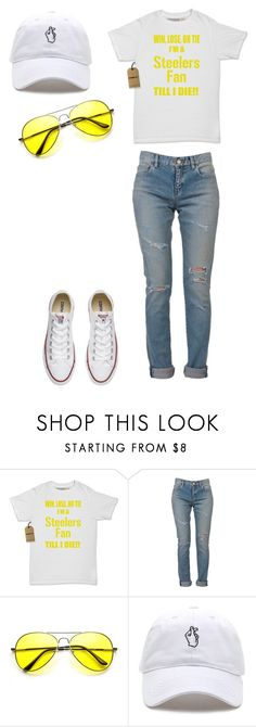 """lemon and white"" by expressiontees ❤ liked on Polyvore featuring Yves Saint Laurent and Converse"