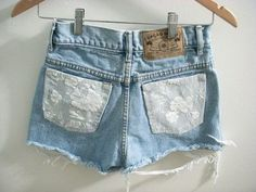 DIY lace shorts: cut out pockets & replace with thick lace.