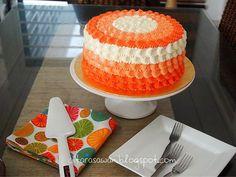 Pastel Petal Cake en naranja con unos pétalos muy especiales. Receta paso a paso de citarasawan. #Receta #PetalCake #Pastel