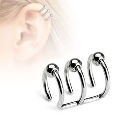 Triple Bead Hoop Ear Cuff Non Piercing Ring. We're simply affordable with high quality body piercing jewelry for everyone worldwide. Fake Piercing, Triple Ear Piercing, Ear Piercings, Rook Piercing, Piercing Ideas, Prom Earrings, Sapphire Earrings, Rose Gold Earrings, Unique Earrings