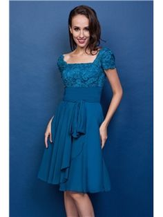 $ 119.99 Attractive Lace A-Line Square Neckline Short-Sleeves Knee-Length Renata's Mother of the Bride Dress