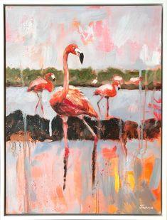 Janna Prinsloo | Graceful Splendour (2020) - available for sale | StateoftheART White Shadow Box, Shadow Box Frames, Wildlife Paintings, Animal Paintings, Animal Kingdom, Flamingo, Cool Art, Contemporary Art, Original Paintings