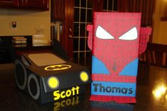 All boy Valentine Boxes... Spiderman and Batman