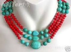 images for turquoise and coral or red and crystal jewellery - Google Search