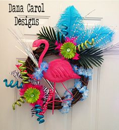 Flamingo Summer Wreath - Great for the pool house