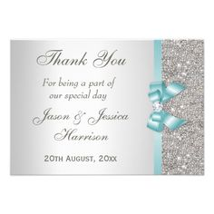 Shop Teal Faux Bow Silver Diamonds Thank You created by GroovyGraphics. 1st Birthday Party Invitations, Glitter Wedding Invitations, Engagement Party Invitations, Wedding Invitation Design, Bridal Shower Invitations, Custom Invitations, Wedding Stationery, Invites, Quinceanera Invitations