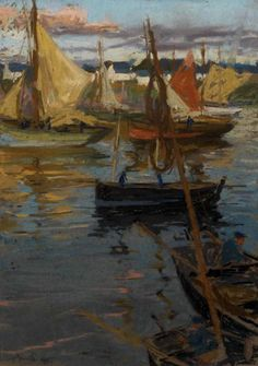 """An Evening Glow with a Rose Trail in the Shadow (Boats Concarneau),"" Charles Henry Fromuth, 1905, oil pastel on brown wove paper mounted to paperboard, 18 x 13"", The Barnes Foundation."