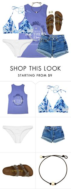 """"" by kaley-ii ❤ liked on Polyvore featuring Victoria's Secret, Rip Curl, Levi's, Birkenstock and Carolee"