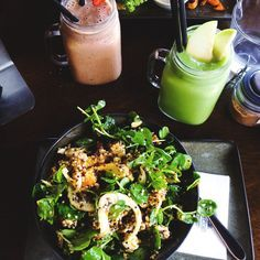 Salad and a Green Smoothie. YUM!