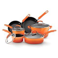 Rachael Ray Orange Porcelain II Nonstick 10-piece Cookware Set