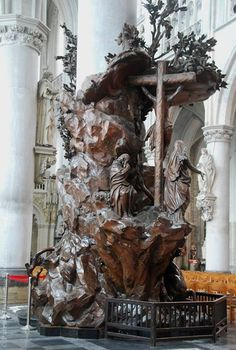 The pulpit of Saint Rombouts Cathedral in Mechelen (Belgium) This pulpit in oak is carved by Michiel van der Voort, the Elder, who lived from 1667 to 1737. A beautiful example of Flemish Baroque. Patrick Damiaens Ornamental Woodcarver