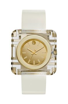 Tory+Burch+'Izzie'+Square+Leather+Strap+Watch,+36mm+available+at+#Nordstrom