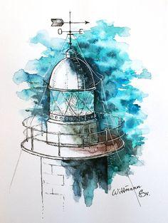 Artwork on aquarelle paper cm. Watercolour by Svetlana Wittmann , Watercolor Sketch, Watercolor Paintings, Original Paintings, Art And Illustration, Sea Drawing, Watercolor Architecture, Art Drawings Beautiful, Nautical Art, Ink Drawings