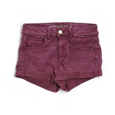 Pre-owned American Eagle Outfitters  Denim Shorts Size 4: Burgundy... ($15) ❤ liked on Polyvore featuring shorts, burgundy, burgundy shorts, short jean shorts, denim shorts, american eagle outfitters and jean shorts