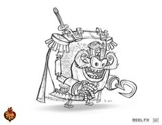 """""""General Posada"""" Character Design by Jorge R Gutierrez, Character Poses by Andy Bialk"""