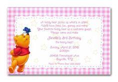 Winnie the Pooh Pink Gingham Birthday invitations by www.TCWDESIGNS.com Disney Invitations, Birthday Invitations, Pink Gingham, 3rd Birthday, Winnie The Pooh, Rsvp, First Birthdays, Teddy Bear, Easter