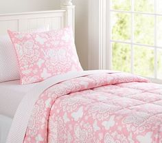 * BOUGHT!! *     Pottery Barn Kids :: Butterfly Loft Quilted Bedding #pbkids   * the one she fell in love with at the store ** will be super cute with the jean-ish duvet cover from pbteen ** still brings out the pink pin striping in her walls ** also got the sham too ** love that it's feminine and cute, without being overly girly or baby-ish *