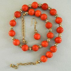 Genuine  coral  and  vintage  rondelles  necklace  and  earrings  set | BellaWorxJewelry - Jewelry on ArtFire