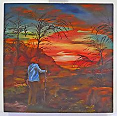 Florida Vintage Folk Art Naive Original Painting Sanibel Fiery Sunset J. Oil Pastel Paintings, Art Paintings For Sale, Original Paintings, Painting Carpet, Orange Painting, Famous Artwork, Red Sunset, Primitive Folk Art