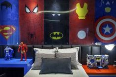 Fantastic photo - have a look at our write-up for many more designs! Marvel Bedroom, Lego Bedroom, Boys Bedroom Decor, Sala Nerd, Chambre Nolan, Avengers Room, Nerd Room, Superhero Room, Kid Spaces