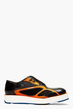 JIL SANDER Black & Neon Orange Leather Hybrid Sneakers