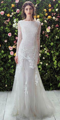 Amazing Lace & Tulle Bateau Neckline Sheath Wedding Dresses With Lace Appliques