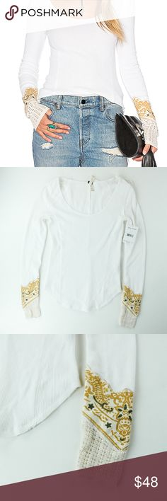 Free People bandana cuff top size medium cream top Free people  Color: Cream Size: Medium Style# OB519389 Bust: 13 inches Waist: 13.5 inches Measurements were taken flat lay   Very nice top with great design and embroidering :) Lightweight and easy to combine with outfits! Free People Tops Tees - Long Sleeve