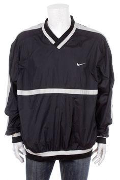 cd618cabc3 Vintage Nike Swoosh Windbreaker Pullover Jacket Black White SizeXL by  VapeoVintage on Etsy 90s Jackets