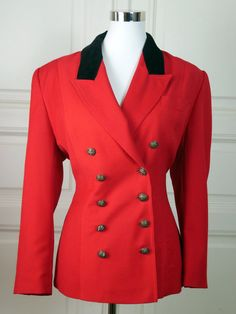 German Vintage Blazer Women's, Double-Breasted Red Blazer, Black Velvet Collar, Riding Jacket Style, Fox Hunting Style: Size 12 US, 16 UK by YouLookAmazing on Etsy