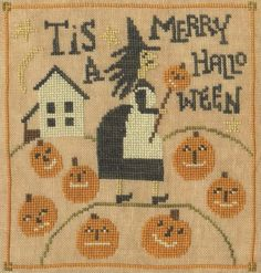 Merry Halloween is the title of this Halloween cross stitch pattern from Teresa Kogut.